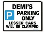 DEMI'S Personalised Parking Sign Gift | Unique Car Present for Her |  Size Large - Metal faced